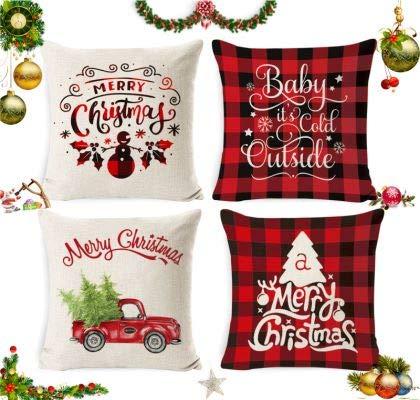 Sunshine smile 4 Stück Kissenbezug Weihnachten,Weihnachtskissenbezug,Kissenbezug Frohe Weihnachten,Wohnkultur Leinen Dekokissen,Weihnachten Kissenbezüge,Weihnachten Deko Kissenhülle 45x45cm(A)