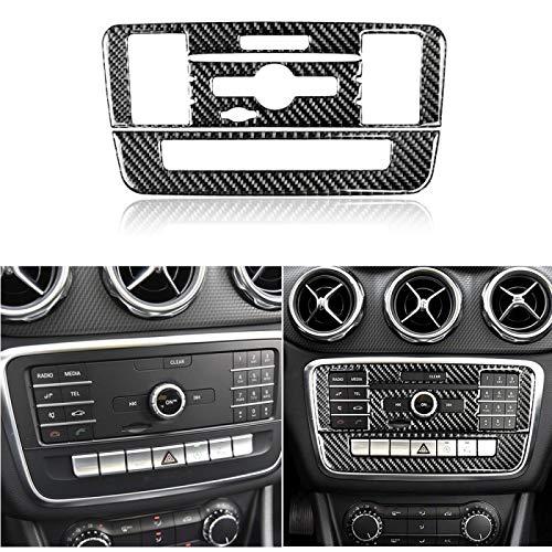 Glingfjz 3D Carbon Fiber Control CD Panel dekorative Abdeckung Zieraufkleber Interieur, für Mercedes Benz GLA 13-18 CLA 2013-2017 LHD