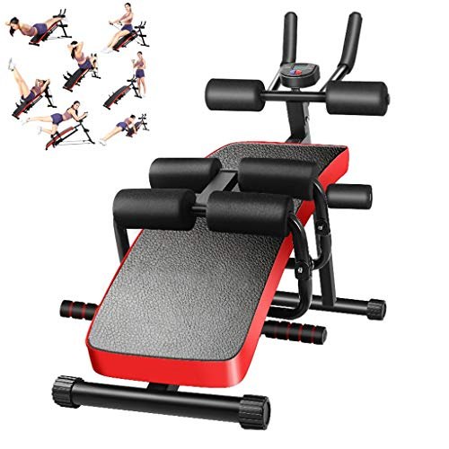 Leewos Adjustable Weight Bench, Weight Trainer Benches 6-in-1 Functional Foldable Waist Machine Fitness Equipment (Black)