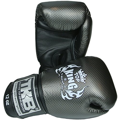 KINGTOP TOP King Boxhandschuhe, Carbon, schwarz-Silber, 12 Oz