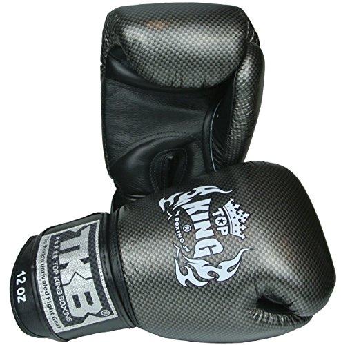 Top King Boxhandschuhe, Carbon, schwarz-Silber, 14 Oz