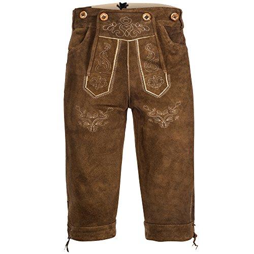 Trachten Lederhose Kniebundhose mit Trägern aus Rindveloursleder Rehbraun 50