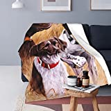 UNSUWU German Short-Haired Pointer Dog Super Soft Shaggy Throw Blankets, Cozy Plush Couch Sofa Throw, Fluffy Luxury Fleece Flannel Blanket for Bedroom Living Room, 50 x 40 inch