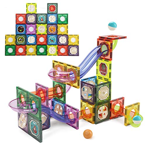 CUTE STONE Magnetic Tiles Magnetic Blocks Building Toys Marble Run STEM Toys Birthday Gift for Kids, Boys and Girls, 85 PCS