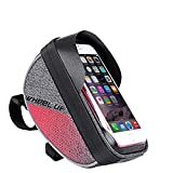 Cyrusher Bike Phone Bag Front Frame Bag Top Tube with Waterproof TPU Touch Screen for iPhone 8 6s Plus/Samsung Galaxy s7 Note Cellphone Below 6.0 inch for Outdoor Cycling(red)