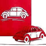 """Pop Up Karte'VW Käfer"""" in Rot - 3D Geburtstagskarte, Glückwunschkarte & Karte zum Führerschein - mit filigranem 3D Auto Modell als Geschenk, Geschenkverpackung und Reisegutschein"""