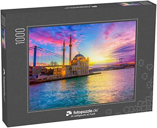 fotopuzzle.de Puzzle 1000 Teile Ortakoy Istanbul Landschaft schöner Sonnenaufgang mit Wolken Ortakoy Moschee und Bosporusbrücke (1000, 200 oder 2000 Teile)