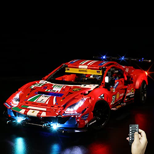 """LED Light Kit for Lego Technic Ferrari 488 GTE """"AF Corse #51"""", Papilights USB Powered Connection Wires Light Set Compatible with Lego 42125 Building Block Model(Only Lights,No Lego Model)"""
