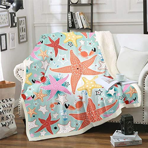 Manta de forro polar para niños, diseño de estrellas de mar, para sofá, hija, de dibujos animados, de peluche, diseño hawaiano, manta difusa, decoración de habitación individual de 50 x 152 cm