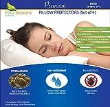 Four Seasons Essentials Waterproof King Pillow Protectors (Set of 4) – Zippered Allergy Pillow Cover Dust Proof Encasement