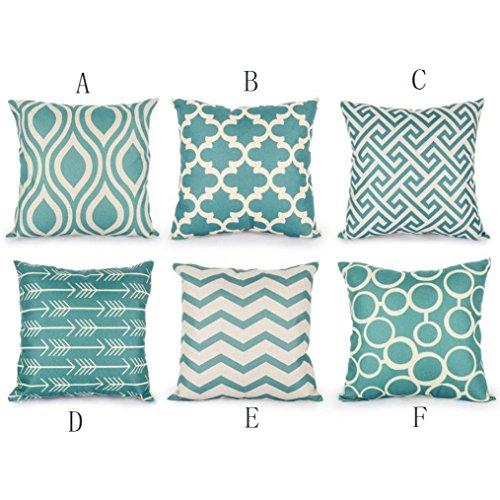 Vovotrade, set van 6 stuks, hoofddecoratief, 45 cm x 45 cm, vierkante kussenhoes, blauw, geometrisch patroon, katoen, linnen, sofa, cafekussen, decoratief kussen, afdekking, kussensloop, prachtige mediterran-stijl, decoratie