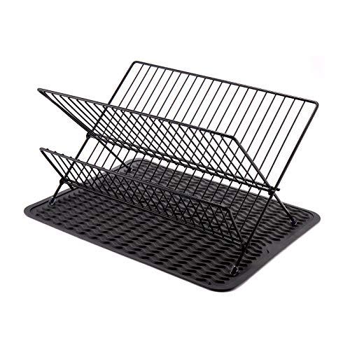 HomeMagic Escurreplatos Plegable con Bandeja para secar Vasos y Platos, 2 Niveles, Acero Inoxidable, Escurridor de Platos para la Cocina (Negro)