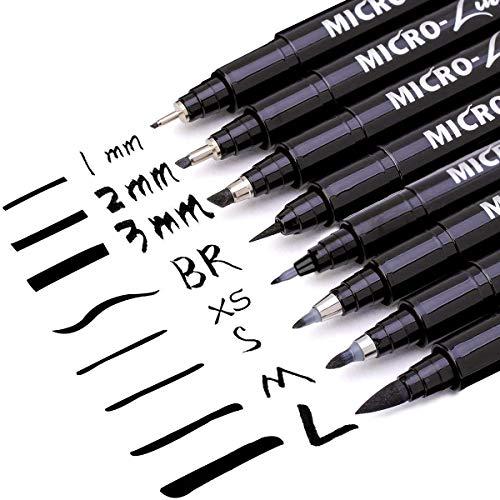 MISULOVE Hand Lettering Pens, Modern Calligraphy Brush Pens Art Markers for Beginners Alphabet Design, Drawing, Cartoon, Scrapbookin, Illustration, Bullet Journaling, Set of 8 Size(Black)