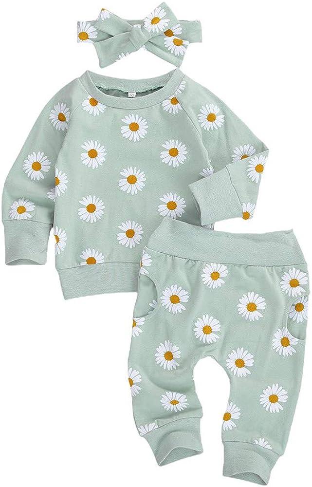 Infant Baby Girls Fall Winter Clothes Daisy Print Sweatshirt Tops Shirt+Pocket Pants Trousers 3Pcs Outfits Set