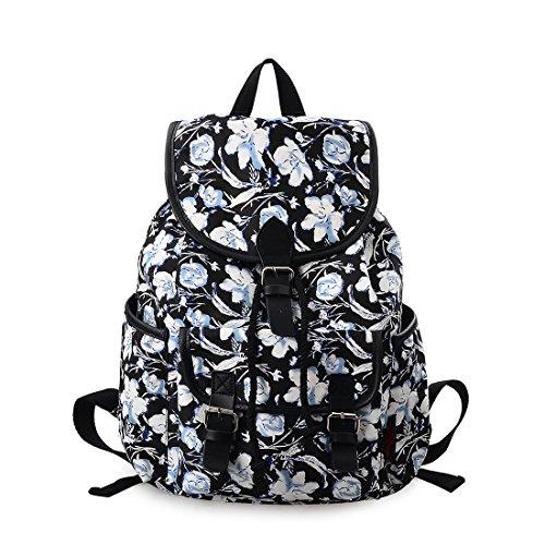 Douguyan Canvas Backpack Girl Casual Shoulder Bag Laptop School Backpack Floral 265