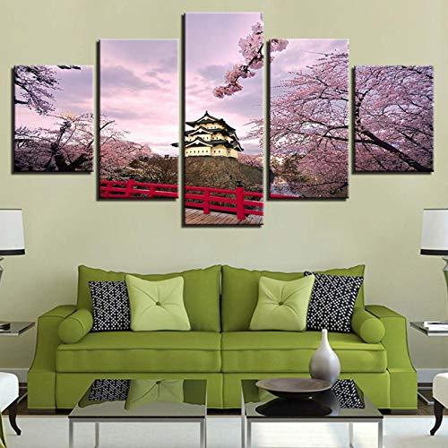 asfdgkwejd 3D fünf Leinwandbilder 100x55cm Japan Mount Fuji Pflanzenblume Wandkunst drucken Leinwand Malerei Home Decor 5 Panel XXL Leinwand Bild Kunstwerk