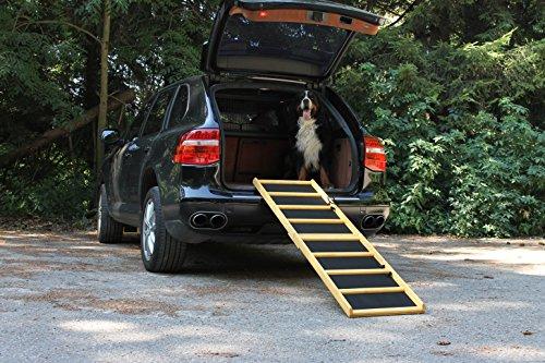 """Easy-Hopper Hunderampe / Hundetreppe / Einstiegshilfe Extra Breit \""""Komfort imprägniert\"""" mit Feinriefengummimatte"""