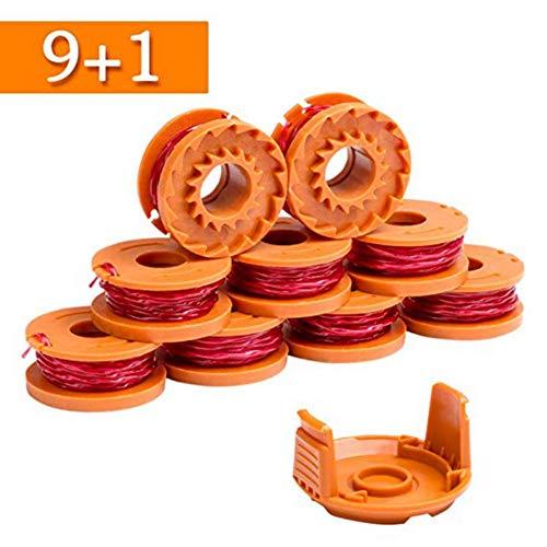 Hankyky Ersatzspule Fadenschneider, Schnurlänge 0,065 Zoll, WG163, WG155, WG180 Kompatibel mit Worx WA0010, Autofeed-Kappe für Unkrautfresser, Akku-Fadenschneider, Schnurlänge 10 Fuß