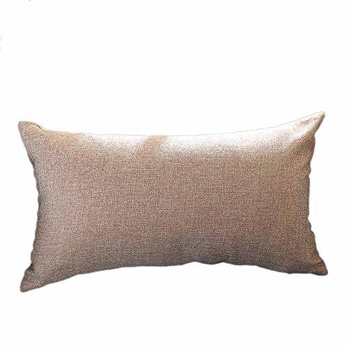 FiedFikt Funda de almohada de color sólido para sofá o coche, funda de cojín para decoración del hogar, funda de almohada suave decorativa de lino y algodón, rectángulo (D)