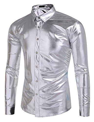 Coofandy Men's Metallic Shiny Nightclub Slim Fit Long Sleeve Button Down Party Shirts, Silver, X-Large