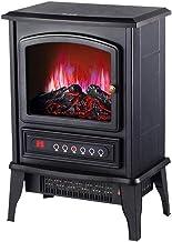 Chimenea eléctrica Protección del Medio Ambiente Resina Simulación Carbón de leña Sensor de Temperatura Incorporado Elemento Calefactor de cerámica PTC Pies extraíbles Negro