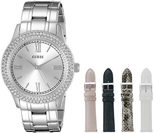 Guess Mujer u0713l1Lujoso Juego de Reloj con Pulsera de Metal Plateado, y 4Correas Intercambiables Dentro de un Bono Caja de joyería