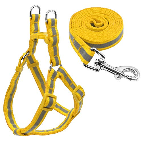 Small Dog Harness en Leash Set Reflective Step in Dogs Puppy Harness Pet Vest en Leads for French Bulldog Chihuahua Yorkshire, Yellow, S