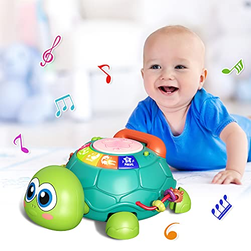 CUTE STONE Baby Learning Toy Musical Turtle Toy with Lights & Sounds, Electronic Early Educational Developmental Toys, English Learning, Pretend Phone Call, Xmas Gift for 6-12 Months Infants Toddlers