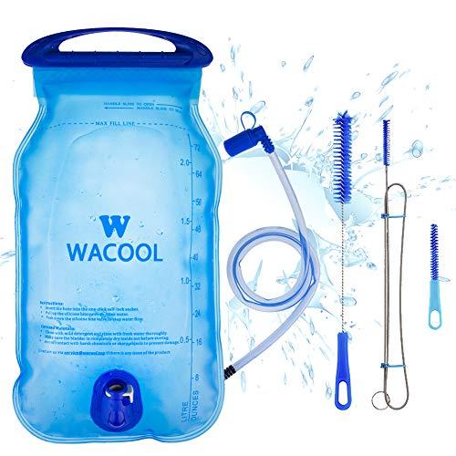 WACOOL 2L 2Liter 70oz BPA Free PEVA Hydration Pack Bladder, Leakproof Water Reservoir (2L PEVA Blue with Cleaning Kit)