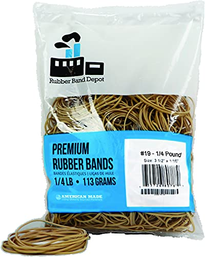 Rubber Bands, Rubber Band Depot, Size #19, Approximately 335 Rubber Bands Per Bag, Rubber Band Measurements: 3-1/2' x 1/16'' - 1/4 Pound Bag