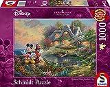 Schmidt Spiele 59639 Thomas Kinkade, Disney-Sweethearts Mickey & Minnie, 1.000 Teile Puzzle, Bunt