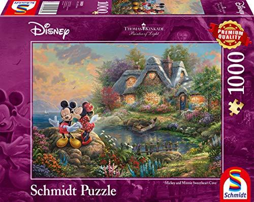 Schmidt spel puzzel 59639 Thomas Kinkade, Disney-Sweethearts Mickey & Minnie, 1.000 delen puzzel, kleurrijk