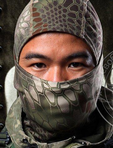 Acid Tactical Brown / Green Hexagon Camouflage Balaclava Full Face mask Ninja hood Millitary Camo