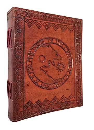 Kooly Zen – Cuaderno de diario, libro, álbumes, libro de invitados, cuaderno de dibujo, álbumes de recortes, trepador, piel auténtica, lobo fenrir, 13 cm x 17 cm, 240 páginas, papel premium