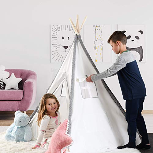 Play22 Teepee Tent For Kids With Mat - Kids Teepee Play Tent, Natural Cotton Canvas Teepee With Wood Poles & Carry Case - Kids Foldable Play Tents For Girls & Boys - Indoor Outdoor Kids Playhouse Tent