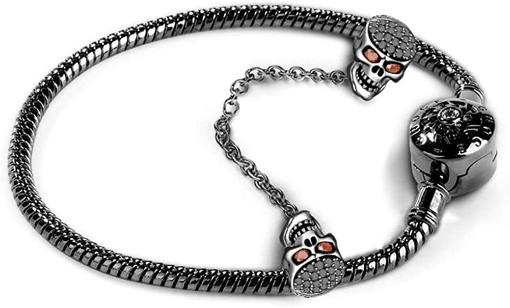 GNOCE Black Skull Charm Bracelet Sterling Chain overseas with Safety Ranking TOP15 Silv