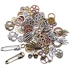 """Sold in """"Gram"""", 140g includes around 92pcs antique gears(quantity may vary due to different sized gear but weight is 140 gram). Width:approx. 0.39""""-1.1""""; Length: approx. 0.39""""-2"""". Color: mixed color, gold, silver, antique bronze,red copper. Perfect f..."""