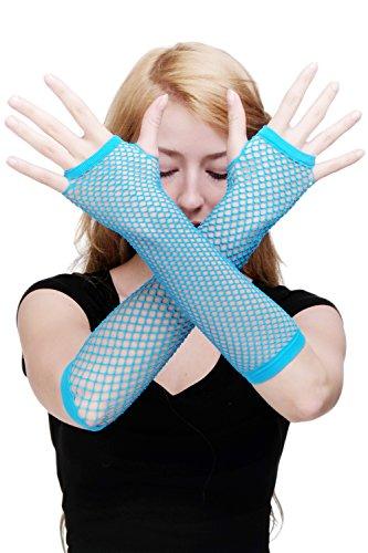 Dress Me Up Karneval Fasching Handschuhe Netzhandschuhe Fishnet Gloves Blau Punk Wave Goth 80er Girly Z070