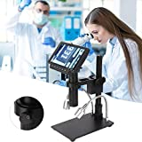 Mikroskopkamera, HY-1070 1080P Digitales Profi-Mikroskop mit einstellbarer 5'-Anzeige und USB/HDMI/AV-Ausgang(EU)