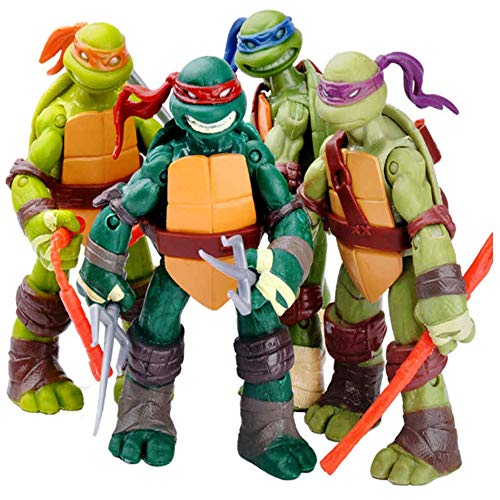 TREEMEN Ninja Turtles Actionfiguren Sets,Teenage Mutant Ninja Turtles Actionfigur Anime Charakter Modell Spielzeug für Kinder Geburtstag Sammlung,4.8inches