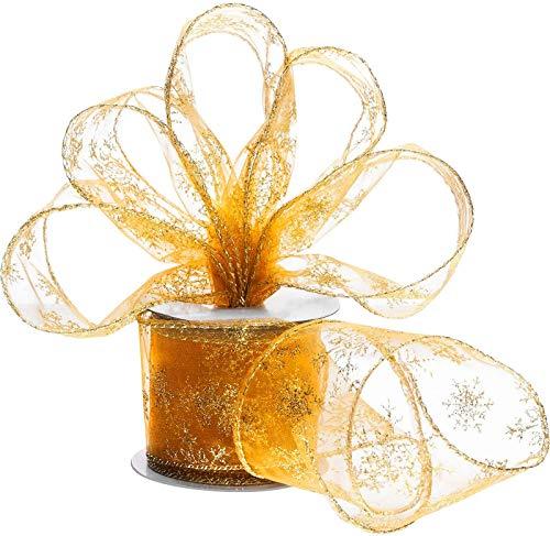 ANOTION Rollo de cinta de raso para regalo, cinta decorativa de satén, 6,3 cm de ancho, cinta de organza con alambre, cinta brillante para Navidad, decoración de fiestas, color dorado