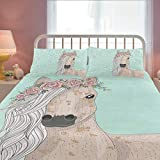 ZOEO Pony Twin Bedding Set Blue Horse Heart Wedding Floral Bed Sets Cartoon Cute Duvet Cover Pillow Cover Set 3 Pieces for Girls Teens Women