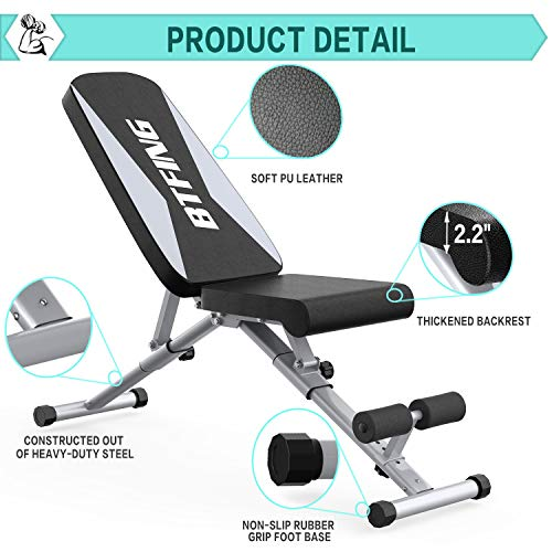 BTFING Adjustable Weight Bench Press, Workout Bench for Strength Training Equipment, Foldable Home Gym Bench for Exercises
