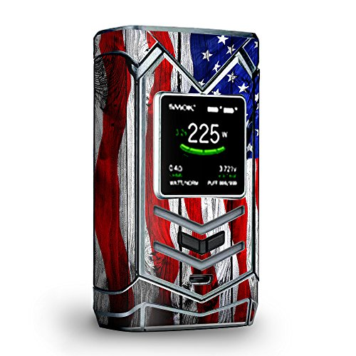 Skin Decal Vinyl Wrap for Smok Veneno 225W TC Vape skins stickers cover/ American Flag on Wood