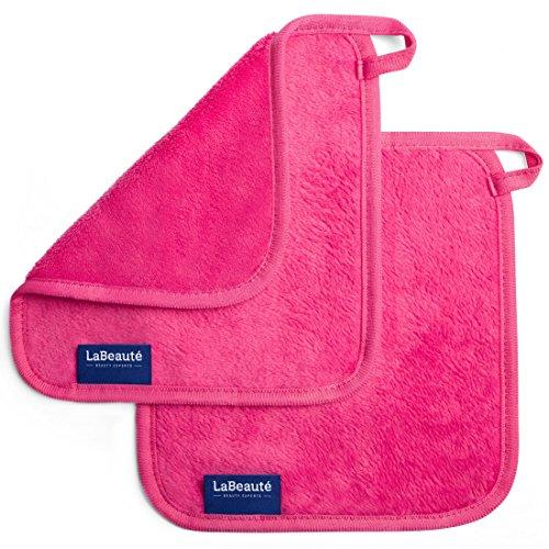 LaBeauté Abschminktücher Mikrofaser (2 Stück), waschbar und wiederverwendbar, Microfaser Gesichtsreinigung, Make-Up Entferner Tuch, zum Abschminken (21x21 cm, Pink)