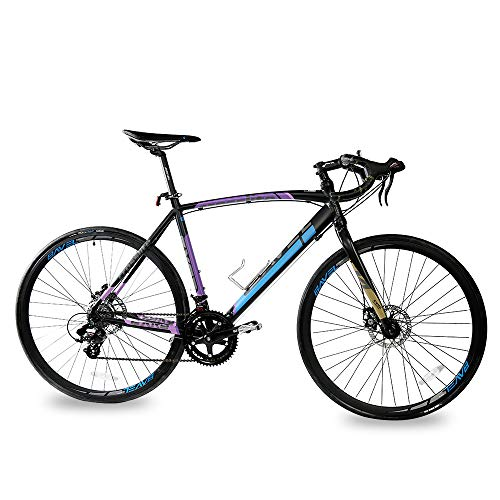 Bavel Lightweight Road Bike Aluminum Frame and Fork 700C Disc Brake Bicycle (Black+Blue, 54cm)