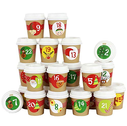 Calendario dell'Avvento Fai-da-Te - Bicchieri da caffè - da Decorare e riempire - Motivi Colorati - 24 tazzine Coffee-to-Go