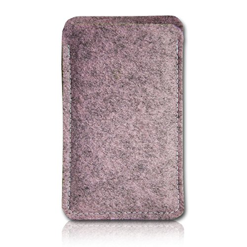 sw-mobile-shop Filz Style ZTE Axon Elite Filz Handy Tasche Hülle Etui passgenau für ZTE Axon Elite - Farbe rosa meliert
