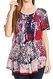 Sakkas 18706 - Blusa Superior de Manga Corta Flowy Campesina de Sara para Mujer Blusa Bordada de Batik - Raspberry - OS