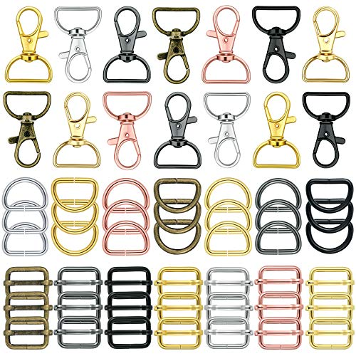 56 Pieces Purse Hardware Keychain Hooks with D Rings Set for Bag Making Lanyard Snap Hooks Metal Swivel Clasps with D Rings and Slide Buckle for Purses Keychain Lanyard Handbags (Mixed Color,25 mm)